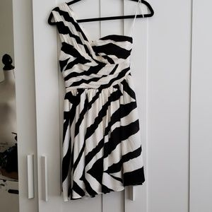 Express black and white zebra dress
